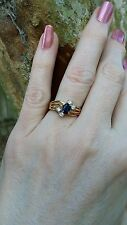 14K YG Oval Blue Sapphire Round Diamond Accent Ring sz 6.25 Tru-Glo September