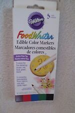 Wilton Food Writer Edible Color Markers Extra fine 5 Colors New