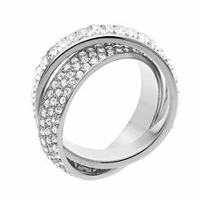 Michael Kors Ring Silver-Tone Pave and Baguette SIZE 6 MKJ31320406  MSRP $125