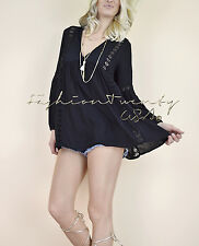 Black Peasant BABYDOLL Boho 70's Crochet Knit GYPSY HIPPIE Tunic Blouse Top S
