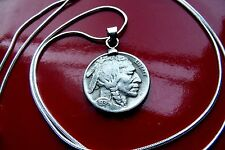 "USA Neat Classic 1936 Buffalo Nickel Pendant on a 24"" 925 Silver Snake Chain"