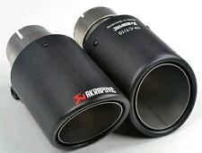 2 x Puntas De Escape Silenciador Universal Akrapovic Tubo de fibra de carbono y acero inoxidable