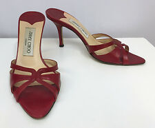 JIMMY CHOO SANDALS SHOES RED WINE LEATHER VERY SEXY EXCELLENT CONDITION SIZE 36