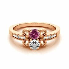 1.097  Carat Pink&White VS2-SI1 2 Diamond Solitaire Engagement Ring 14k RG