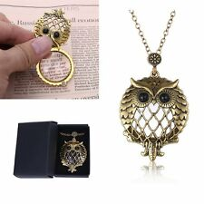 Vintage Grandma Gold Chain Magnifying Glass Owl Design Locket Pendant Necklace