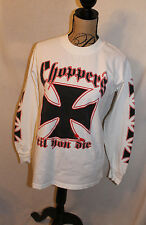 Choppers Til You Die Shirt LS Men's M Lake George NY 2002 Iron Cross Long Sleeve