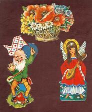 3 alte Oblaten / Glanzbilder Engel, Zwerg und Blumenkorb