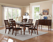 BANNER - 7pcs Traditional Cherry Brown Rectangular Dining Room Table Chairs Set