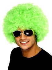 Adults Unisex Neon Green Curly Afro Hair Wig Clown Circus Costume Accessory