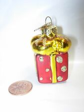 CHRISTMAS TREE ORNAMENT RED GOLD GIFT WRAP BOX PACKAGE GLASS HOLIDAY DECORATION