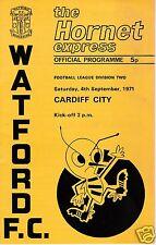WATFORD  V  CARDIFF CITY  2ND DIVISION  4/9/71