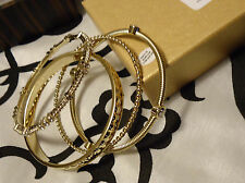 "Brand New R.J. GRAZIANO ""SO STATUS"" set of 4 GOLD TONE bangles Bracelets crystal"