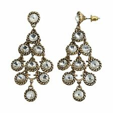 NEW! Simply VERA WANG Antique Gold Tone Crystal Chandelier Earrings FREE SHIP!