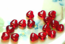#35D Vintage Heart beads Ruby Red Hearts Glass Czech Glass Valentines Tiny 6mm