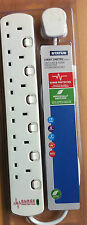 6 Way Individually Switched Surge Extension Socket 13a 2m Lead Cable Plug & Neon
