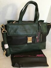 INNUE Leather Satchel Purse/PLUS VERDE/Made in Italy/Forest Green & Black/NWT