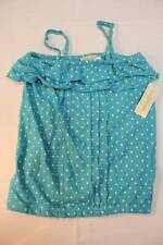 NEW Girls Shirt Tank Top Size 10 - 12 Large Blue Polka Dot Blouse Summer Clothes