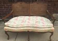 Vintage French Provincial Shabby Chic Double Caned Sofa Couch Settee B