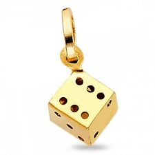 Dice Pendant Solid 14k Yellow Gold Cube Good Luck Charm Polished Small