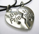 Antique Silver Plated Heart Best Friends Charm Pendant Leather - ette Necklaces