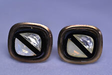 VINTAGE CUFFLINKS W/ IRIDESCENT & CLEAR TRIANGLE CRYSTALS SET IN BLACK CELLULOID