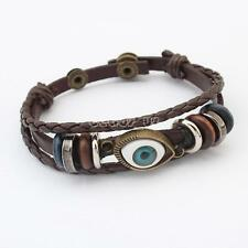 Women Men Cowhide Leather Handmade Rope Wristband Anchor Bangle Bracelet Eye ver