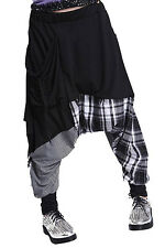 Sunny Hip-hop Splice Lattice Women's Sweat Pants Double Bag Harem Baggy Cotton
