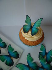 36 Teal Aqua Green Butterflies Edible Cupcake Toppers Birthday Cake Decorations