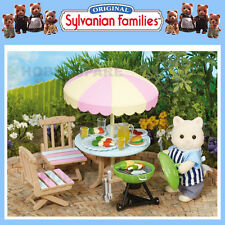 NEW SYLVANIAN FAMILIES GARDEN BARBECUE SET with CAT FATHER 30+ PIECES 4869