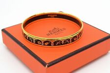 Authentic Hermes Enamel Bracelet Bangle Gold Narrow Gold Black Ladies Instrument