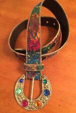 "Vintage Elite Women's Belt-Size M-Silver Toned Buckle with ""Jewels""-SHIPS FREE"