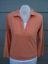 Chicos Womens Knit Top Shirt Sz 3 L 40B Orange White Twofer Faux Twinset