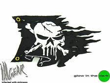 ill Gear PUNISHER Ripped Pirate Skull Flag hook & loop Patch Tactical Black