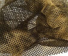 "Tie Dye Fishnet Stretch Fabric by Yard Army Green Beige 60""W 3/16"