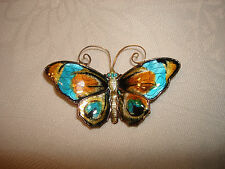 Vintage David Andersen Sterling Silver 925 Enamel Butterfly Pin Brooch Norway