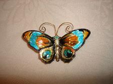 Vintage David Andersen Sterling Silver 925 Enamel Butterfly Pin Brooch Norway
