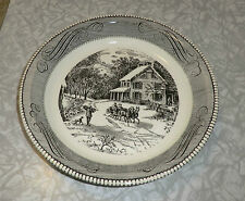 "Black & White CURRIER & IVES Royal China Jeannette 10"" PIE Baker PLATE MINT"