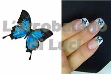 20 AUTOCOLLANTS POUR ONGLES PAPILLON BLEUL NAILS ART STICKERS BLUE BUTTERFLY