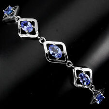 NATURAL 6x4mm TOP RICH BLUE VIOLET TANZANITE 14K ON STERLING 925 SILVER BRACELET