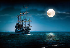 "CHOIS WM5018 Stuff Wall Mural Sea ship night full moon wallpaper 100"" x 145"""