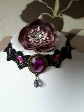 Glam lilac purple velvet and  black lace choker necklace prom wedding Gothic