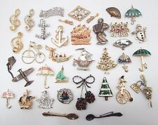 Lot of 35 x Vintage Mixed NAUTICAL, MUSICAL, TRANSPORT etc Costume Brooches