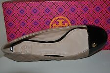 Sz 9 Tory Burch CLAREMONT Ballet Flat Shoe Clay Beige / Black Quilted Leather