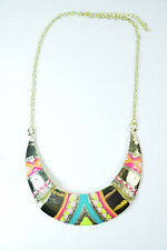 LADIES GOLDEN RED STATEMENT ABSTRACT BRIGHT  NECKLACE CHUNKY PIECE DIAMANTE(SR1)