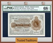 TT PK 10a 1969 FALKLAND ISLANDS 50 PENCE PMG 68 EPQ SUPERB GEM UNCIRCULATED