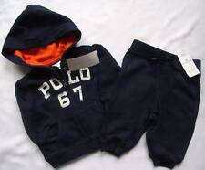 NEW Ralph Lauren Boys Navy Blue Hoody Joggers Outfit Tracksuit Suit 3-6 m
