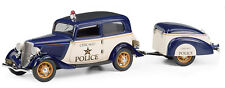 New Franklin Mint 1:24 1933 Ford V-8 Tudor Police Car w/Trailer B11F680