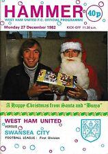 Programa de fútbol West Ham United > V Swansea City diciembre de 1982