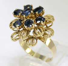 Vintage sapphire flower ring 14K yellow gold filigree floral oval 2.05CT sz 6.75