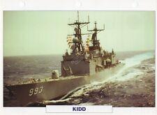 1979 USS KIDD (DDG-993) (ROCS Tso Ying) Destroyer/Warship Photograph Maxi Card /